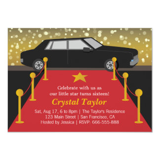 Red Carpet Glam Hollywood Party Girl Birthday 4.5x6.25 Paper Invitation Card