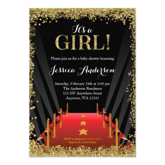 Red Carpet Hollywood Faux Glitter Girl Baby Shower Card
