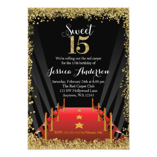 Red Carpet Hollywood Glitter Sweet 15 Quinceanera 13 Cm X 18 Cm Invitation Card