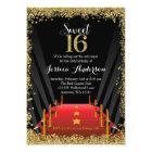 Red Carpet Hollywood Glitter Sweet 16 Birthday Card