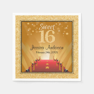 Red Carpet Hollywood Star Gold Sweet 16 Birthday Paper Napkin
