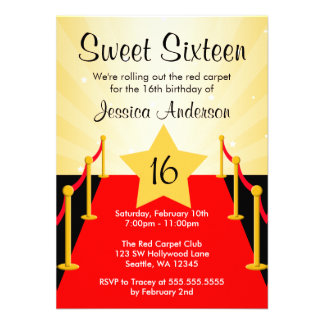 Red Carpet Hollywood Sweet 16 Birthday Party Personalized Announcement