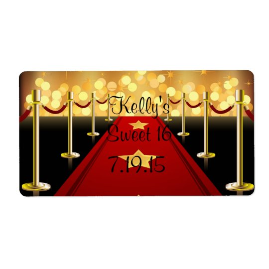 Red Carpet Hollywood Sweet 16 Custom Favour Label Shipping Label