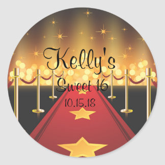 Red Carpet Hollywood Sweet 16 Party Favor Labels Round Sticker