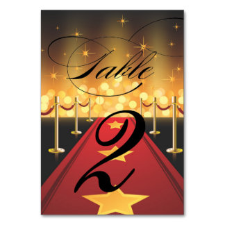 Red Carpet Hollywood Sweet 16 Table Number Table Card