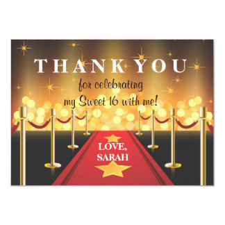 Red Carpet Hollywood Sweet 16 Thank You Note Card