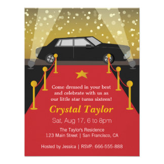 Red Carpet Hollywood Theme Party Girl Birthday Announcements