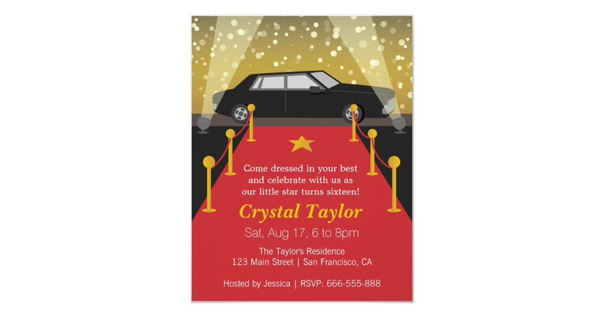 Red Carpet, Hollywood Theme Party, Girl Birthday Invitation | Zazzle ...