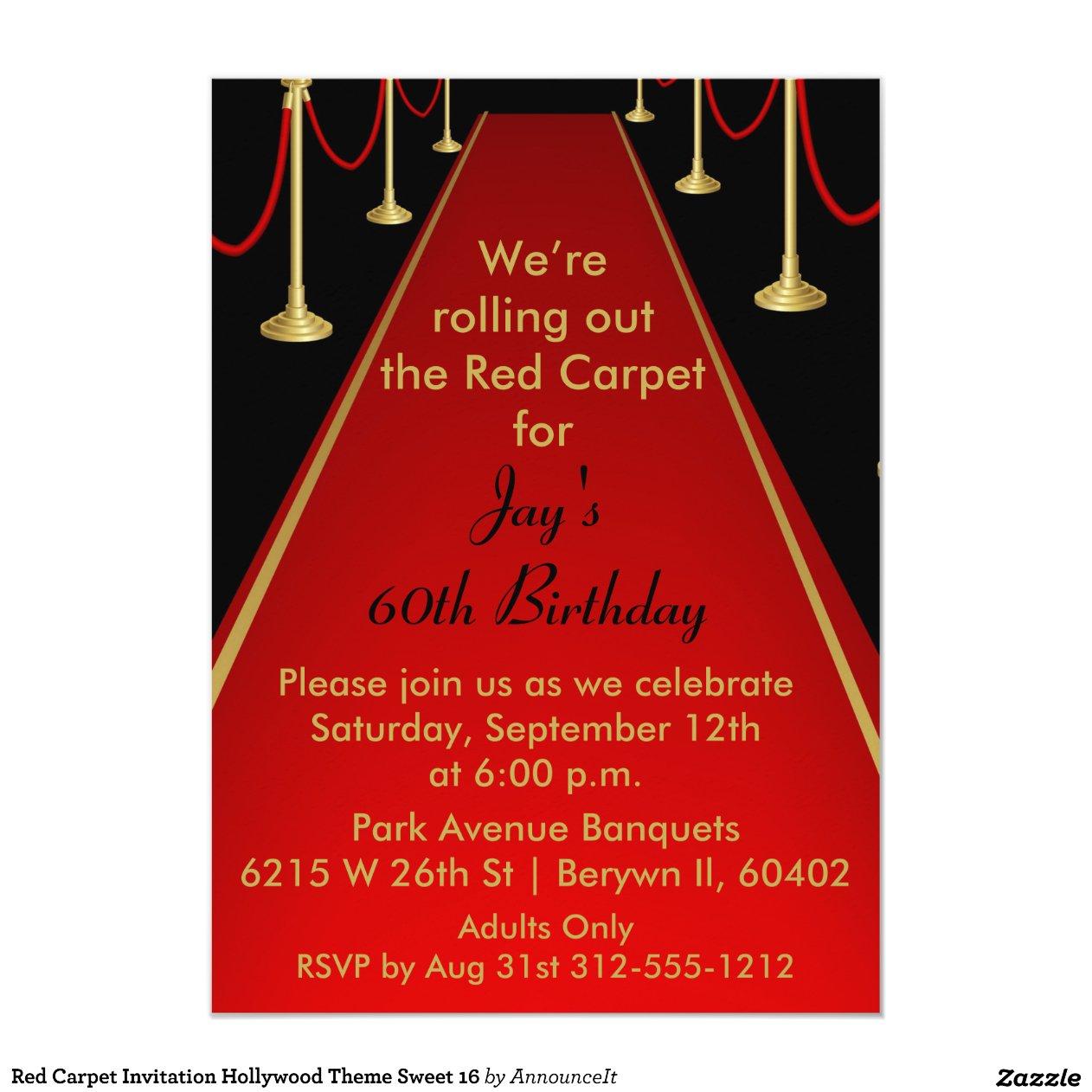 Red Carpet Invitation Hollywood Theme Sweet 16 Zazzle