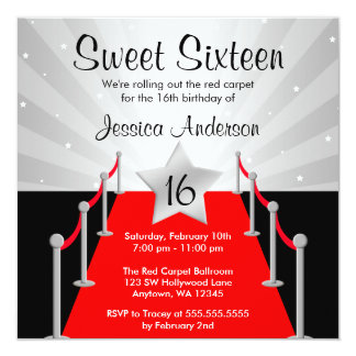Red Carpet Silver Hollywood Sweet 16 Birthday 13 Cm X 13 Cm Square Invitation Card