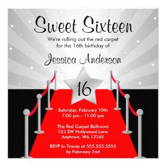 Red Carpet Silver Hollywood Sweet 16 Birthday Custom Invites