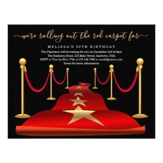 Red Carpet Themed Party with Faux Gold Foil Flyer