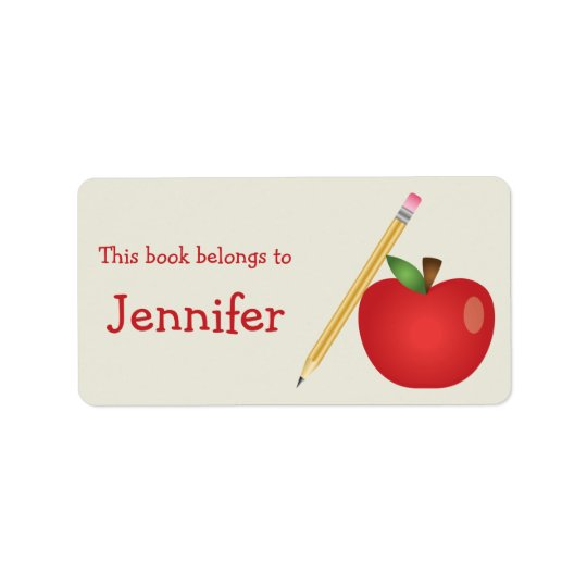 Red Cartoon Apple And Yellow Pencil & Custom Name Label