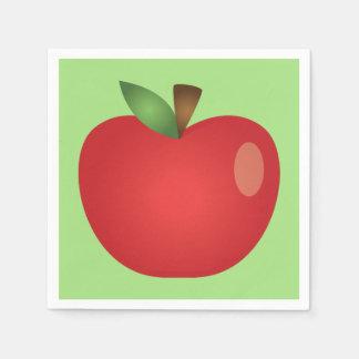 Red Cartoon Apple On Green Disposable Serviette