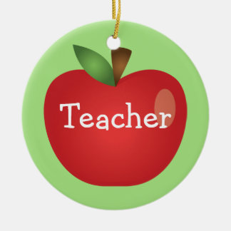 Red Cartoon Apple On Green With Text Teacher Ceramic Ornament