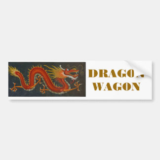 RED CARTOON DRAGON BUMPER STICKER