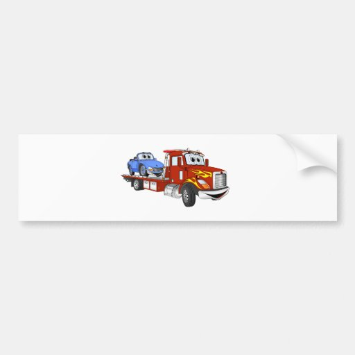 Red Cartoon Flatbed Tow Truck Bumper Sticker