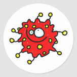Red Cartoon Germ Round Sticker