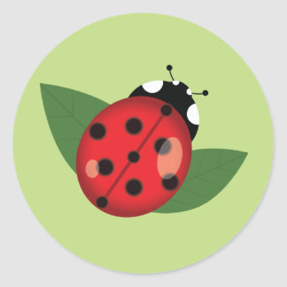 Red Cartoon Ladybug With Green Leaves Round Sticker