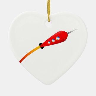 Red Cartoon Rocket Ceramic Ornament