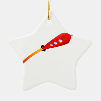 Red Cartoon Rocket Ceramic Star Decoration