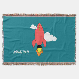 Red cartoon rocket throw blanket