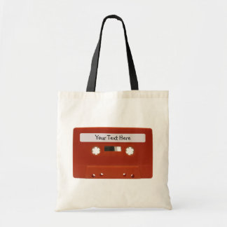Red Cassette Tape Customizable Canvas Bag