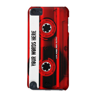 Red Cassette Tape Personalized iPod Touch (5th Generation) Covers