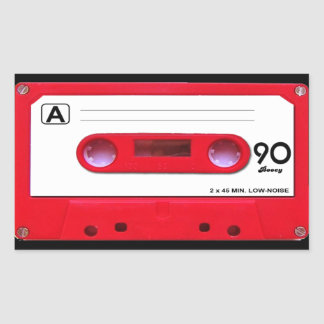 Red Cassette Tape Rectangular Sticker