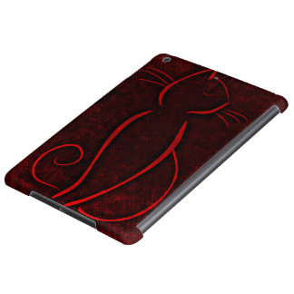 Red cat silhouette cover for iPad air