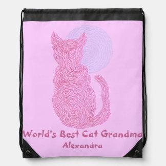 Red Cat The Moon Best Cat Grandma Drawstring Bag