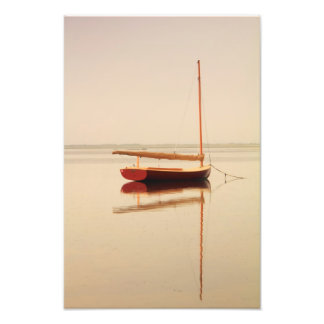 Red Catboat on misty water Photo Print