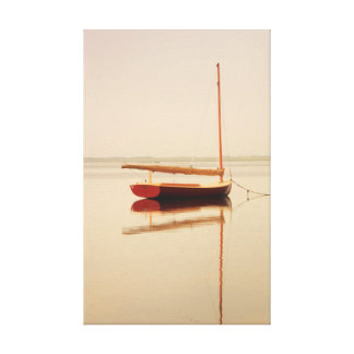 Red Catboat on misty water, Provinetown, Cape Cod Canvas Print