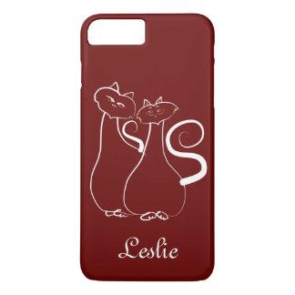 Red Cats Minimalistic Personalized Elegant Leslie iPhone 7 Plus Case