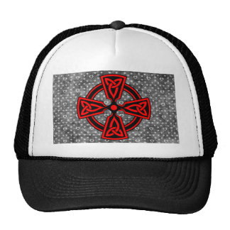 Red Celtic Cross Distressed Background Cap
