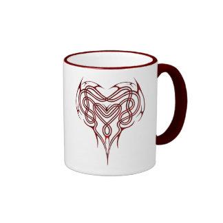 Red Celtic Heart Knot Ringer Mug