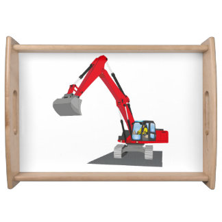 red chain excavator serving tray