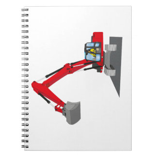 red chain excavator spiral notebook