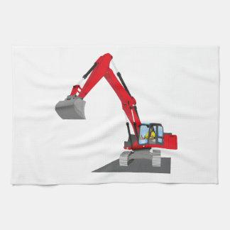 red chain excavator tea towel