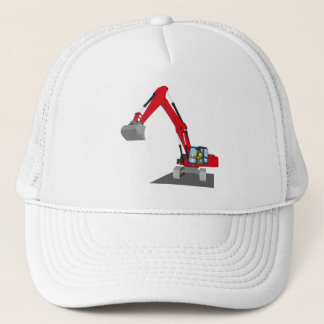 red chain excavator trucker hat
