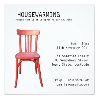 Red Chair Housewarming Invitation