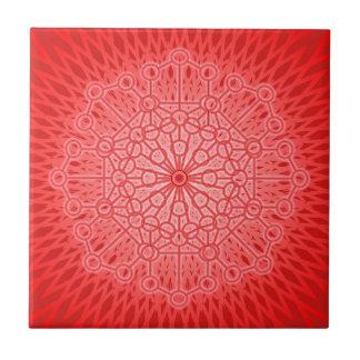 Red Chakra Mandala Sacred Geometry Ceramic Tile