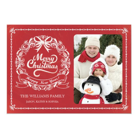Red Chalkboard Christmas Wreath Photo Card