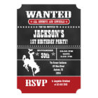 Red Chalkboard Cowboy Birthday Invitation