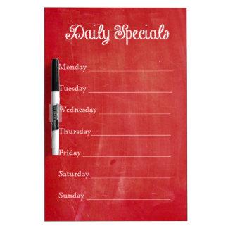 Red Chalkboard Dinner Menu Dry Erase Board