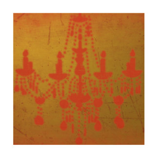 Red Chandelier on Gold Grunge Art, Wood Canvases