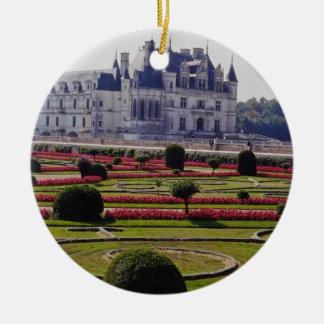 Red Chateau de Chenonceaux, France flowers Ceramic Ornament