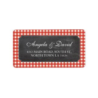 Red Check Chalk Rustic Wedding Address Label