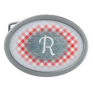 Red Checked Gingham and Denim Custom Monogram Oval Belt Buckles