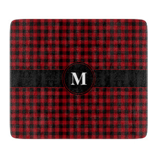 Red Checked Gingham With Customizable Monogram Cutting Board